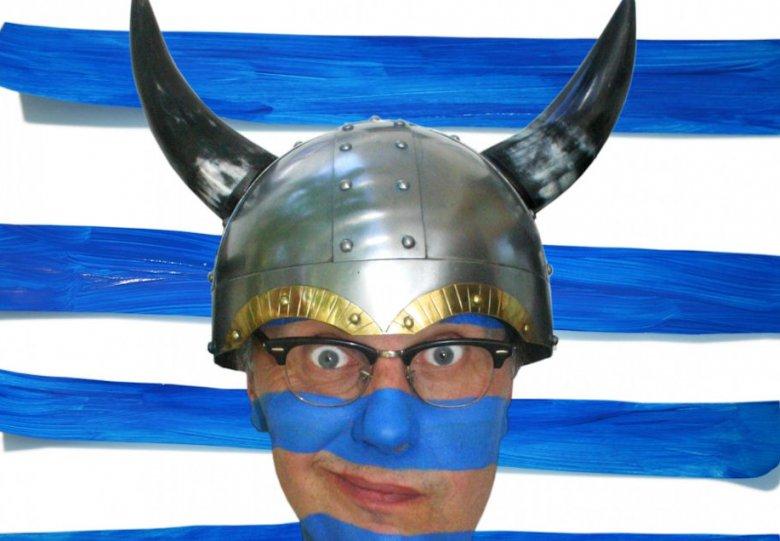 """Marc van de Veerdonk met """"Geen Viking""""."""