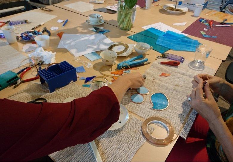 workshop Tiffany, glas in koper