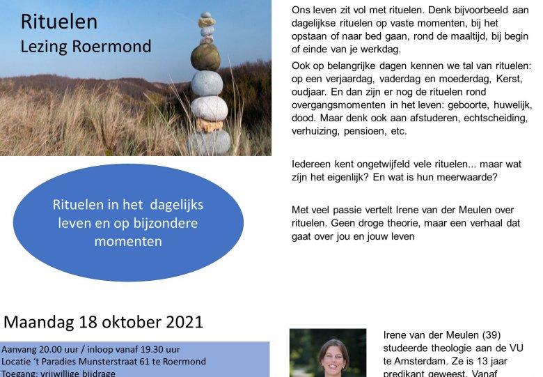 """RITUELEN""   lezing in Roermond"