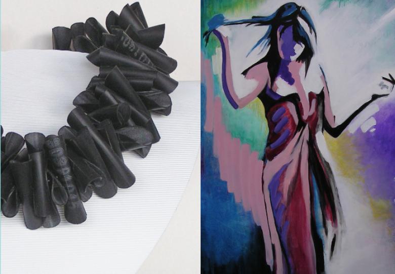 Sieraden van Irma de Jong en schilderijen van Simone Stawicki
